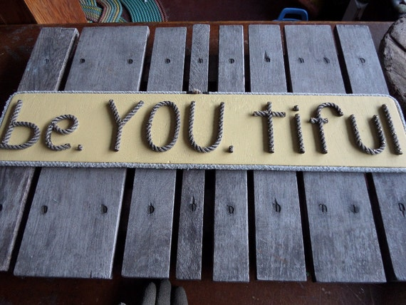 Yellow Wooden Sign be.YOU.tiful Wall Art Reclaimed Wood with