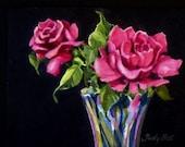 Pink Roses - Tiny Original Art - Watercolor Painting