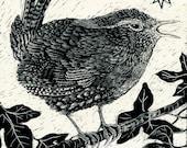 Art Card Wren from Scraperboard original design
