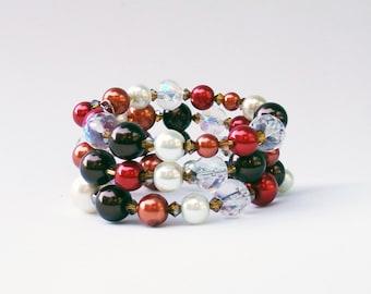 CHOCOLATE CRANBERRY Pearl Bracelet