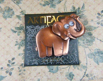 Vintage Copper ARTIFACTS Elephant Brooch - BR-294 - Copper Elephant Brooch - Elephant Pin
