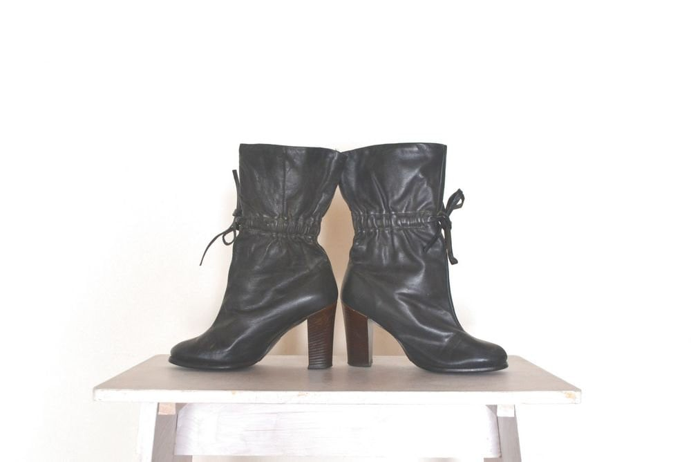 high heel slouch boots vintage 1970s black by
