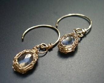 Faceted smokey quartz teardrop in gold netting, organic, nature inspired earrings - Auriol