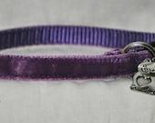 Dakota - Purple velvet Cat Collar - unique handmade breakaway adjustable soft cat collar