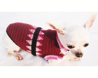 Elegant Maroon Pink Dog Sweater Hand Knitted Tooth Fairy Pet Clothing Argyle Chihuahua Dress Cute Puppy Clothes DF31 Myknitt - Free Shipping