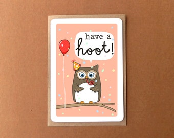 Greeting card - cute owl, have a hoot!
