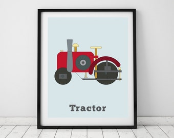 Tractor wall art. Truck prints for boys rooms. Kids TRACTOR decor for nurseries, bedrooms or playrooms. Tractor wall print by Little Gripper