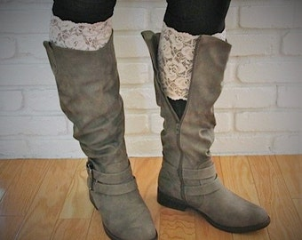"""Country Cowgirl Ivory/Off White 6"""" Wide Embroidered Stretch Lace Peek A Boots...Lace Boot Cuffs...Boot Toppers...Socks...New..."""
