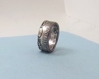 """Silver coin ring Kennedy """"Patriot""""  half dollar 40% fine silver jewelry year 1969 size 11"""