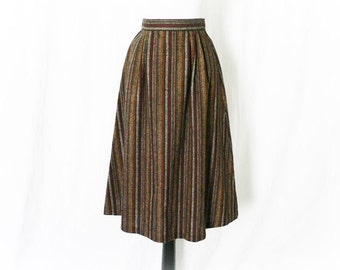 Vintage 70s Striped Wool Skirt S Burgundy Knee Length Office Secretary