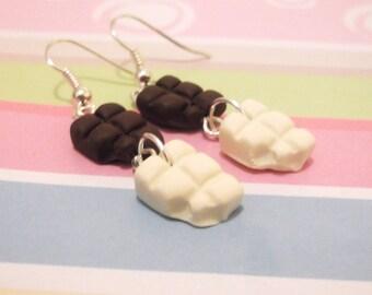 Cute Earrings Chocolate Earrings ( food earrings bitten chocolate white chocolate milk chocolate polymer clay jewelry miniature food )