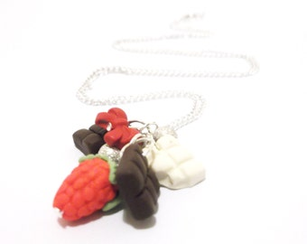 Food Miniature sweet necklace ( chocolate necklace strawberry necklace food necklace cute necklace gift for her polymer clay jewelry )