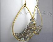 Labradorite Gold Dangle Earrings, Gray Gemstone Gold Hoop Earrings, Gold Teardrop Gray Stone Woven Gemstone Earrings