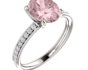 Natural AAA 9x7mm Oval  Morganite  Solid 14K White Gold Diamond  Engagement Ring Set-ST232095