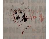 Amanda Lepore Club Kid Goddess 12 x 12 Gay Art Rupauls Drag Portrait Painting of Rave 90s Icon Living Doll NYC Fashion Street Art Graffiti