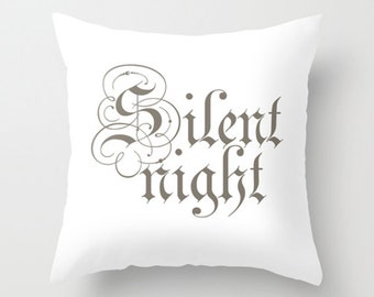 Throw Pillow Cover - Christmas Silent Night Holy Night - 16x16, 18x18, 20x20 - Pillow Case Original Design Home Décor by Adidit