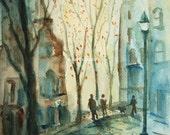 The Walk, Print Of Original Watercolor Painting city street scene city landscape archival print.