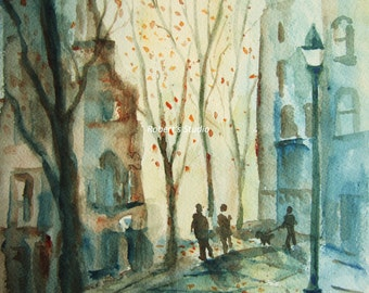 The Walk, Print Of Original Watercolor Painting city street scene city landscape archival print.