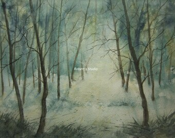 Print Of Original Watercolor painting, Morning Fog, watercolor art, tree art, forest painting, blue, woodland art, watercolor landscape.