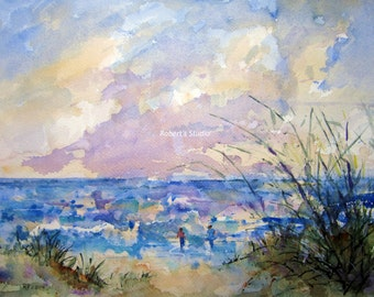 Seascape Painting, archival print, watercolor landscape, beach painting, watercolor seascape, landscape painting, seashore art, beach print.