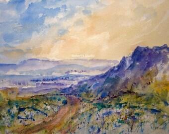Watercolor Landscape Painting, archival print, watercolor art, landscape painting, mountain painting, mountain landscape, modern art.