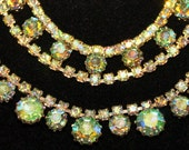 Vintage Antique Light Green Aurora Borealis Demi Parure Necklace and Bracelet Set