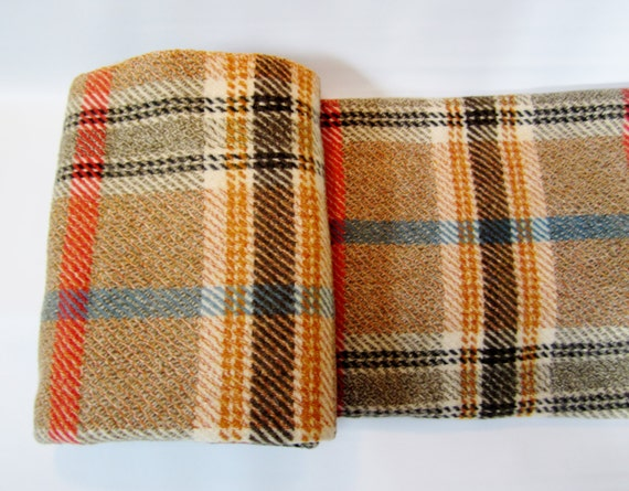 Vintage Wool Blanket Rich Plaid Throw Rust Gray Gold