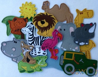 Savanna (small package - 15 pieces) - felt toy with magnetic layer on the back