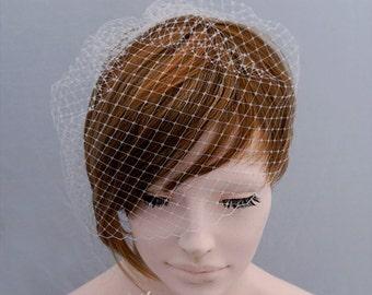 Add a Birdcage Veil, Bird Cage Veil, Short Veil, Bridal Veil, Blusher Veil, Wedding Veil Wedding Hair Accessory Bridal Hair Accessory