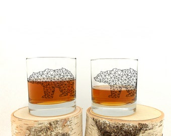 Whiskey Glasses - Bear Made of Triangles - Set of Two Small Tumblers - Rock Glass Set