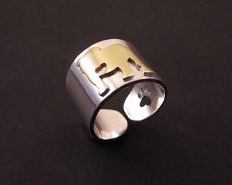 English Bulldog cuff ring