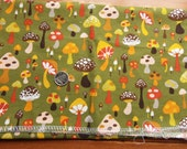 Mushrooms Toadstools  13x26  remnant - cotton - woven