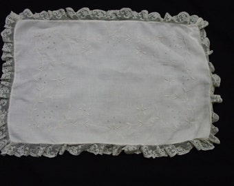 Sweet Vintage Boudoir Pillow Top with Embroidery and Lace Edge
