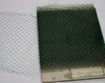 "Nice Vintage Hat Veil, Veiling, Yardage Dark Green, 11 Yards, 10"" Wide"