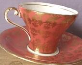 Vintage Orange tea cup and saucer, Aynsley tea cup, English tea cup, Orange and Gold tea cup, Bone china tea cup, antique tea cup