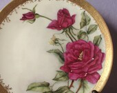 Antique 1890's Red rose china plate, Martial Redon Limoges France hand painted plate, Victorian plate, gold and white porcelain plate