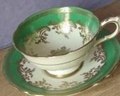 Vintage 1950's Paragon green and gold tea cup, Mid Century English tea cup, Antique tea cup, Bone china tea cup, green tea cup