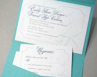 Beach Wedding Invitation Starfish Pocketfold Invite Teal Blue Traditional Wedding Pocket Custom Wedding Invitation Blue