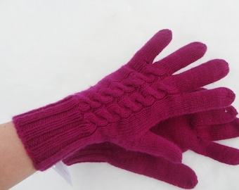 Hand Knitted Cable Gloves In Violet Purple Color with Merino Wool and Cashmere Blend Yarn Very Warm Soft Luxury Knit