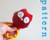 Owl Baby Teething Toy Rattle rattle toy baby rattle toy baby shower gift amigurumi crochet pattern amigurumi owl crochet pattern crochet owl
