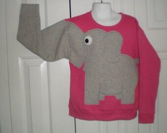 Girls Elephant Trunk sleeve sweatshirt, Bright pink heather, x small or medium, kids elephant shirt