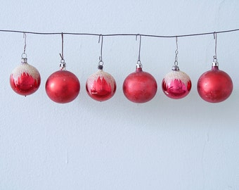 Lot of 6 Red Vintage Christmas Glass Ornaments with Snow