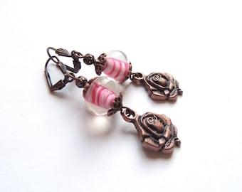 Crimson White Swirl Lampwork Earrings. Antique Copper Rose Earrings. Long Dangle Charm Earrings. Handmade Earrings. Handcrafted Jewelry.