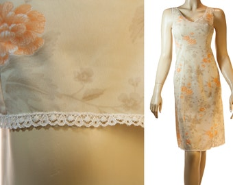 Adorable silky soft sheer caramel coffee and orange floral design nylon and delicate white lace detail 1980's vintage full slip - 3150
