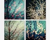 Holiday Print or Canvas Wrap, Christmas Decor, Teal Abstract Art, Square Prints for Ikea Frames, Teal Aqua Sparkle, Set of 4 Christmas.