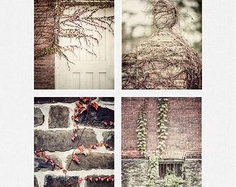 Rustic Decor, Rustic Print Set, Country Brick and Ivy Pictures, Kitchen Decor, Rustic Farmhouse Decor, Rustic Wall Art, Set of 4 Prints.