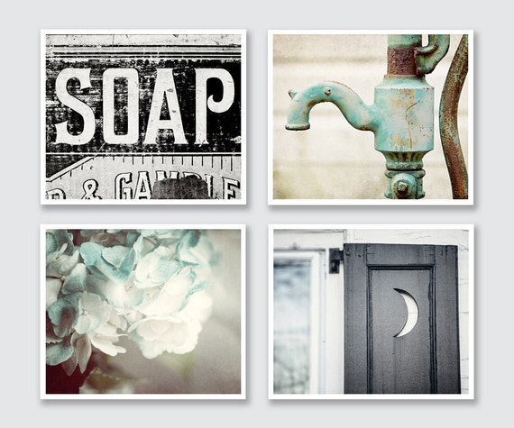 Rustic bathroom wall decor set of 4 prints or canvas art for Bathroom decor etsy