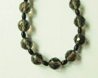 Stunning smoky quartz and black onyx gemstone necklace. Brown, black