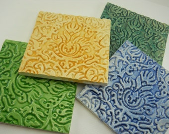 "hand painted ceramic 4"" tile, mosaic center piece, decorative tile in sunshine gold, denim blue, kelly green or deep turquoise; spoon rest"