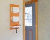 SHOCK: modern mail organizer bright orange, key hooks wallet storage shelf, wall mounted home office entry hallways minimal decor organizer